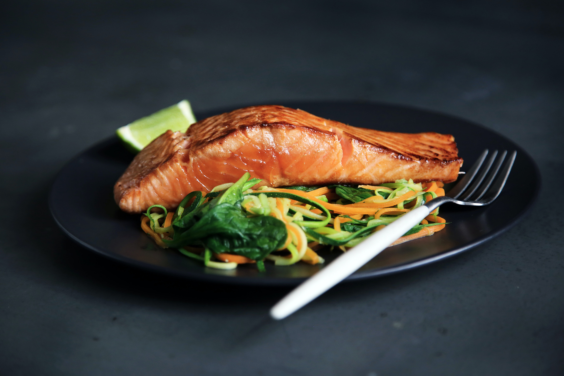 Salmon and boiled vegetables